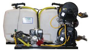 Dual Tank Skid Sprayer_300 Gal Tanks_Curb Side Electric Reels with Hose Guides